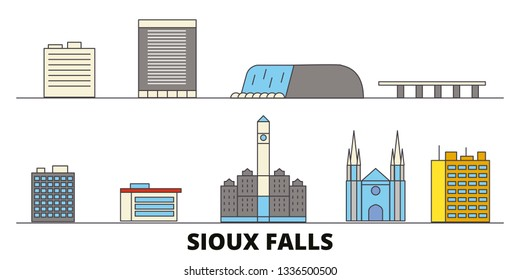 United States, Sioux Falls flat landmarks vector illustration. United States, Sioux Falls line city with famous travel sights, skyline, design.