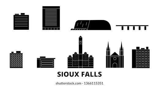 United States, Sioux Falls flat travel skyline set. United States, Sioux Falls black city vector illustration, symbol, travel sights, landmarks.