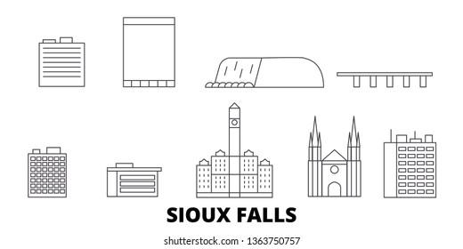 United States, Sioux Falls line travel skyline set. United States, Sioux Falls outline city vector illustration, symbol, travel sights, landmarks.