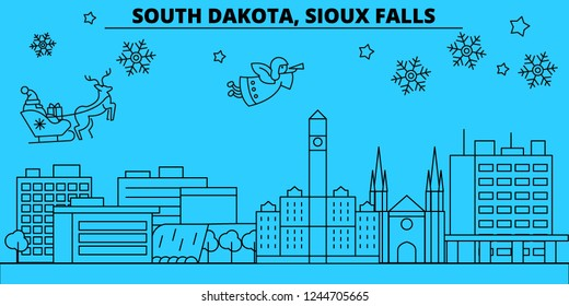 United States, Sioux Falls winter holidays skyline. Merry Christmas, Happy New Year decorated banner with Santa Claus.United States, Sioux Falls linear christmas city vector flat illustration