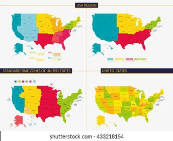 United States Time Zone Map Images Stock Photos Vectors