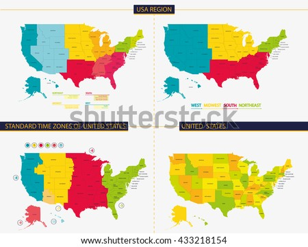 United States Standard Time Zones United Stock Vector (Royalty Free ...