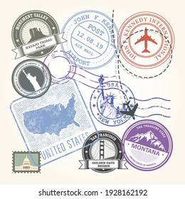 United States travel stamps set, USA journey symbols on stickers and labels, vector