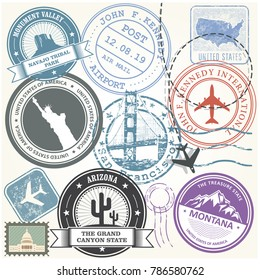 United states travel stamps set - USA journey landmarks