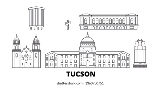 United States, Tucson line travel skyline set. United States, Tucson outline city vector illustration, symbol, travel sights, landmarks.