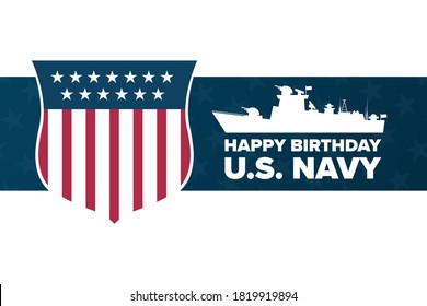 The United States or U.S. Navy Birthday. October 13. Holiday concept. Template for background, banner, card, poster with text inscription. Vector EPS10 illustration