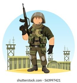 United states or US soldier in ammunition at camp or base. Military man or male with gun or rifle, helmet and ammo. Cartoon officer or infantry in camouflage, marine sergeant. Iraq war theme.