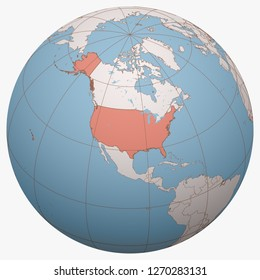 United States (US, USA) on the globe. Earth hemisphere centered at the location of the United States of America. United States map.
