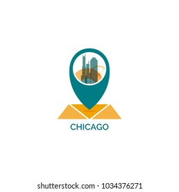 United States USA Chicago map pin point geolocation modern skyline pointer shape vector logo icon illustration