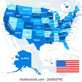 united states usa map and flag ilration image contains next layers