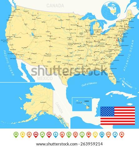 United States USA Map Flag Navigation Stock Vector (Royalty Free ...