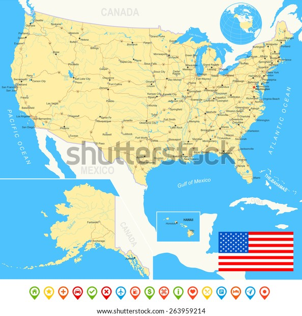 United States Usa Map Flag Navigation | Royalty-Free Stock Image