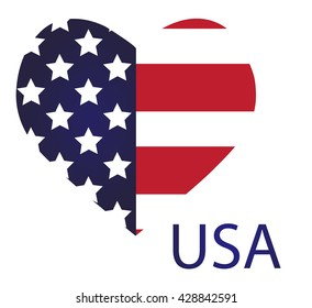 United States vector flag in heart