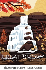 United States Vector Illustration Background. Travel to Great Smoky Mountain National Park United States of America. Flat Cartoon Vector Illustration in Colored Style.