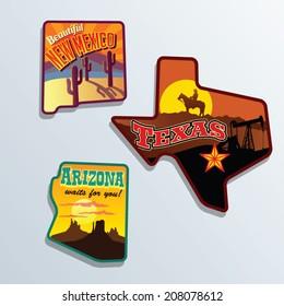 United States vector illustrations Texas, Arizona, Mew Mexico