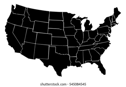 United States vector map made of outline drawings of each state