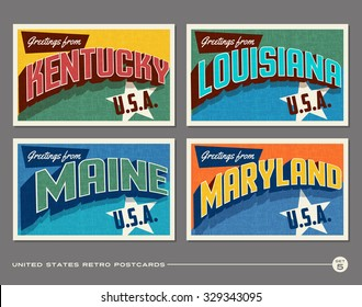 America Postcard Retro Images, Stock Photos & Vectors