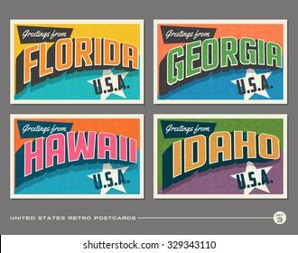 United States vintage typography postcards. Florida, Georgia, Hawaii, Idaho