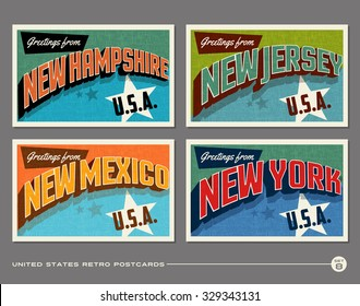 United States vintage typography postcards. New Hampshire, New Jersey, New Mexico, New York