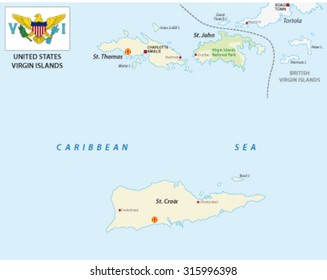 United States Virgin Islands map with flag