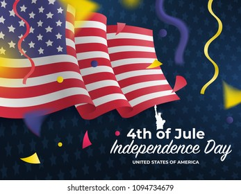 United States waving flag. Fourth of July celebrate. 4th of Jule. Fourth of July Independence Day 2018. Template for website banner, poster and advertisement. Vector illustration