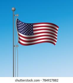 United States waving flag on mast