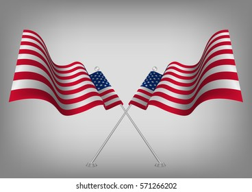 ef53672e6bd9 United states waving shaded American flag. Usa national symbol vector eps10.