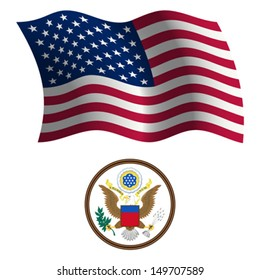 united states wavy flag and coat of arms against white background, vector art illustration, image contains transparency