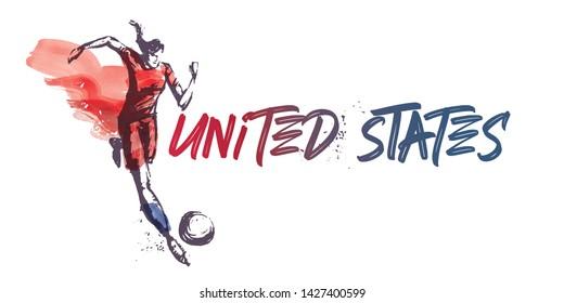 United States Women's Soccer National Team Vector Design. Female Player Running. Typographic Layout. Lettering Sport Logo.