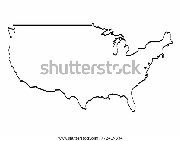 Unites State Map Outline Graphic Freehand Stock Vector (Royalty Free ...