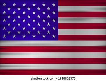Unites State realistic flag. Made in Unites State. Vector illustration.