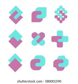 Unity abstract geometric logo set. Pharmacy or charity logotype concept.