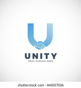 Unity Abstract Vector Sign, Symbol or Logo Template. Hand Shake Incorporated in Letter U Concept. Isolated.