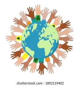 Unity and community of different people united around the planet. Vector