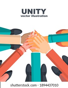 Unity concept. Top view of a group of young business people, holding hands together. Unity and teamwork. Vector illustration flat design. Isolated on white background.