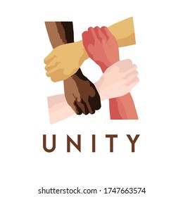 unity with difference flat design poster. stop racism