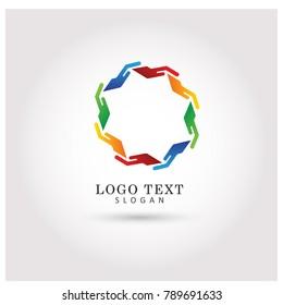 Unity Hand Logo. Symbol & Icon Vector Template.