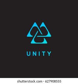 Unity icon, triangle logo, delta emblem. Vector illustration.
