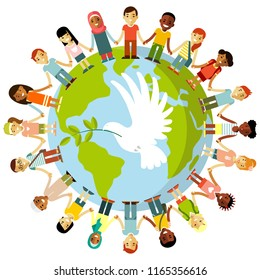 Unity of kids and dove of peace concept Different international multicultural children standing together and holding hands around the world