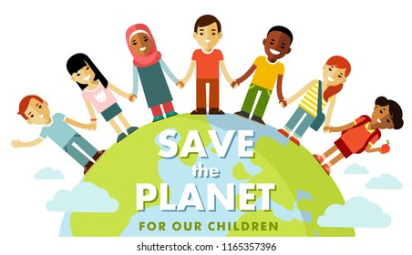 Unity of planet Earth kids concept. Different international multicultural children standing together and holding hands around the world