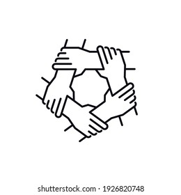 Unity and teamwork concept. Togetherness and cooperation icon. Group of five people holding arms. Line vector illustration isolated on white background.