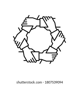 Unity and teamwork icon. Togetherness and cooperation concept. Group of six business people holding arms. Line vector illustration isolated on white background.