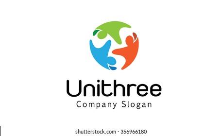 Unity Three Logo Design Illustration