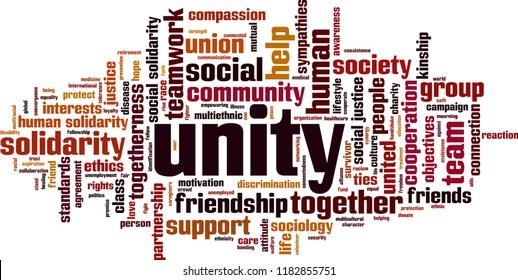 Unity word cloud concept. Vector illustration
