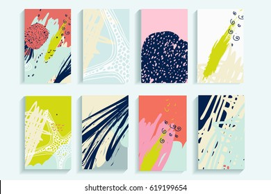 Universal abstract posters set. Creative abstract pineapple concept cards. Trendy creative abstract cards for wedding, anniversary, birthday, Valentin's day, party invitations, web, print.