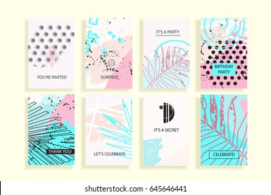 Universal abstract posters set. Creative geometric cards. Trendy creative abstract cards for wedding, anniversary, birthday, Valentin's day, party invitations, web, print.
