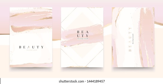 Universal artistic cards templates. Pastel rose and pink brush strokes. Modern fashionable design. Good for cover, invitation, placard, brochure, poster, card, flyer and other.