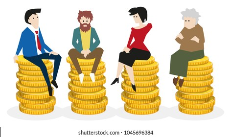 Universal basic income, diferent people sitting on equal coin piles