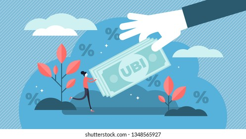 Universal basic income vector illustration. Flat tiny money receiving person concept. Economical governmental income guarantee to resident citizens equality. Social support system to reduce poverty.