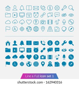 Universal Basic set 1. Trendy thin icons for web and mobile. Line and full versions.